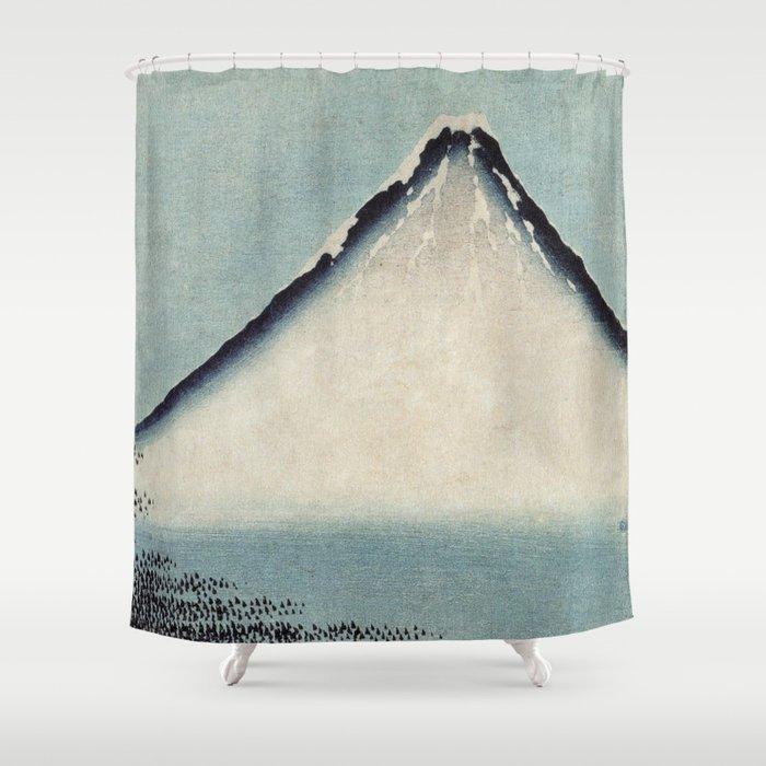 Hokusai, the blue fuji- hokusai,manga,japan,fuji, blue fuji,Shinto Shower Curtain