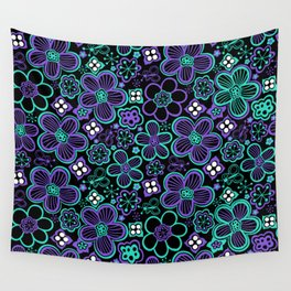 Funky 90s Glow Black Purple Floral Pattern Wall Tapestry