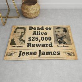 Jesse James and Frank James Wanted Dead or Alive Poster - $25,000 Reward! Rug