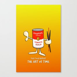 Tomato soup clock (orange) Canvas Print