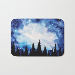 Watercolor Starry Galaxy Forest Painting Bath Mat