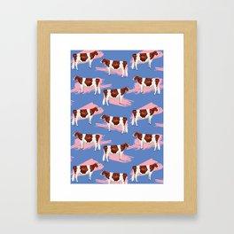 Red & White Holsteins - Pink Splash Framed Art Print
