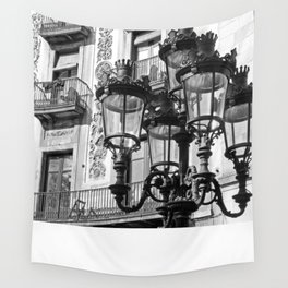 Barcelona Street Lamps Wall Tapestry