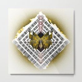 Ancient Future Butterfly Shield Mandala Metal Print