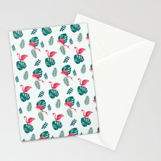 pink flamingo bird on blue and green tropical pattern Stationery Cards