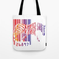 zebra Tote Bags featuring zebra  by mark ashkenazi