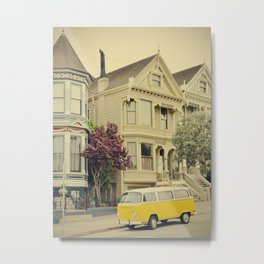 San Francisco Heights and Van Metal Print