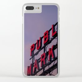Pike Place Neon Sunrise Clear iPhone Case