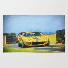 Yellow Ford GT40 Rug