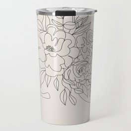 Woman with Flowers Minimal Line I Travel Mug