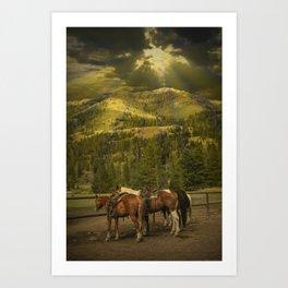 Western saddle riding horses near Yellowstone National Park Art Print