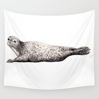 seal Wall Tapestries featuring Harbour Seal by Chloe Yzoard