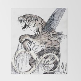 Wheat Tiger Chimera Throw Blanket