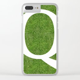 Q initial letter alphabet on the grass Clear iPhone Case