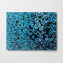 Turquoise Blue Aqua Pixels Metal Print