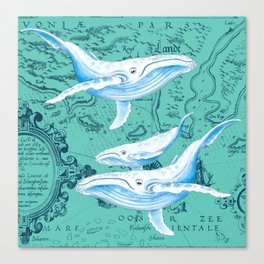 Whale Family Teal Canvas Print