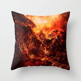galaxy Mountains Fiery Orange & Red Throw Pillow