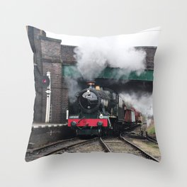 Vintage Steam Railway Train at the Station Throw Pillow
