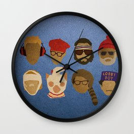 Wes Anderson Hats Wall Clock