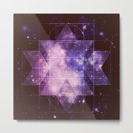 Galaxy Sacred Geometry: Purple Rhombic Hexecontahedron Metal Print