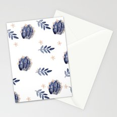Blue Cactus Floral Pattern Stationery Cards