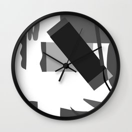 Matisse Inspired Black and White Collage Wall Clock
