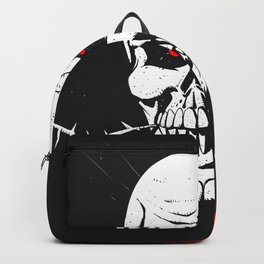 Skull with flower between teeth - halloween skull - skeleton cartoon - gothic illustration Backpack