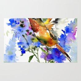 Alen's Hummingbird and Blue Flowers, floral bird design birds, watercolor floral bird art Rug