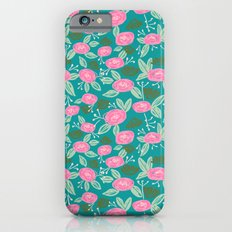 Turquoise blossom blooms painting abstract pattern garden gardener plants summer spring bright  iPhone 6s Slim Case