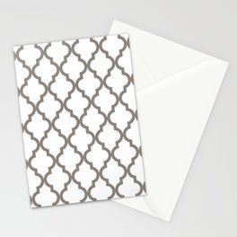 Moroccan Quatrefoil Pattern: Neutral Brown Stationery Cards