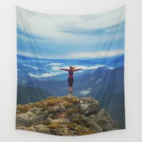 ukraine Wall Tapestries featuring Young woman  on a stone   with raised hands,Carpathian ,Ukraine by natalia.maroz