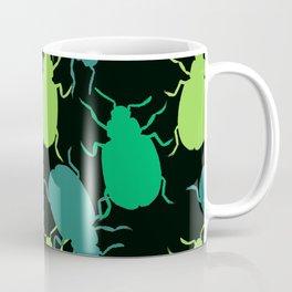 Green Beetle Bug Pattern Coffee Mug