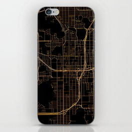Black and gold Orlando map iPhone Skin