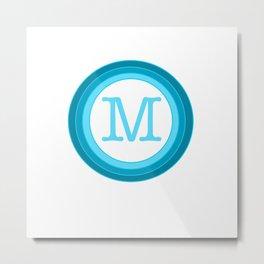 Blue letter M Metal Print