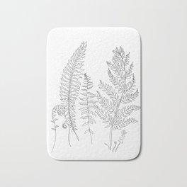 Minimal Line Art Fern Leaves Bath Mat