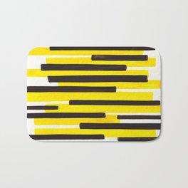 Yellow Primitive Stripes Mid Century Modern Minimalist Watercolor Gouache Painting Colorful Stripes Bath Mat