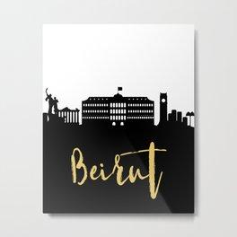 BEIRUT LEBANON DESIGNER SILHOUETTE SKYLINE ART Metal Print