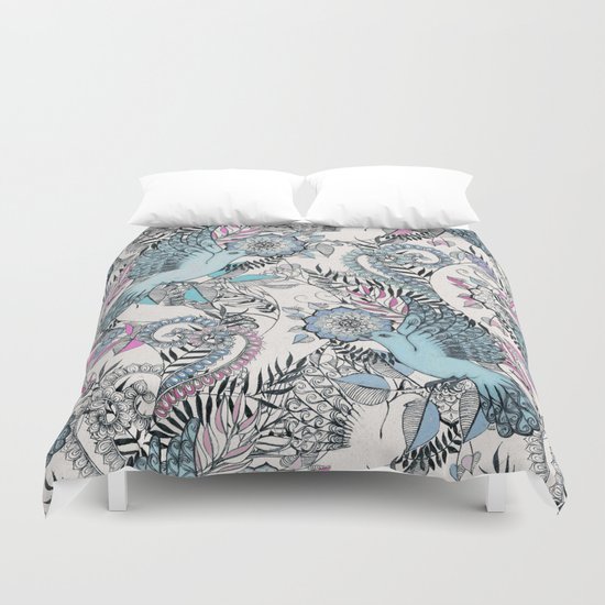 Flight of Fancy - pink, teal, cream Duvet Cover