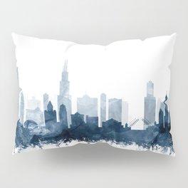 Chicago City Skyline Blue Watercolor by zouzounioart Pillow Sham