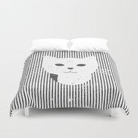 stripe Duvet Covers featuring Stripe Kitty by omgcatz