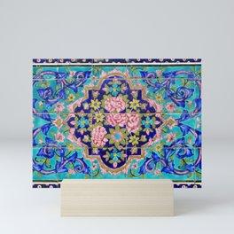 Turquoise Floral tile Mini Art Print