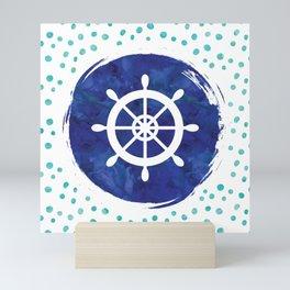 Watercolor Ship's Wheel Mini Art Print