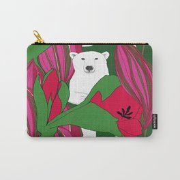 animals white bear flower floral red green Carry-All Pouch