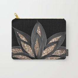 Gray Black Agave with Gold Glitter #1 #shiny #tropical #decor #art #society6 Carry-All Pouch