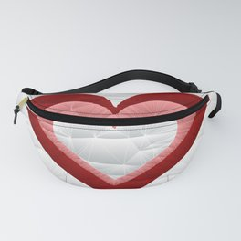 Quilted Red White Pink Simple Heart Design Fanny Pack