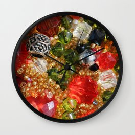 Shiny colorful beads abstract background Wall Clock