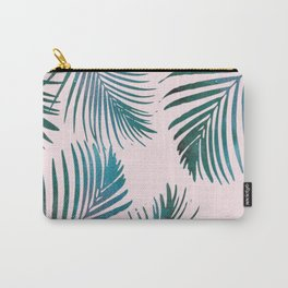 Green Palm Leaves on Light Pink Carry-All Pouch