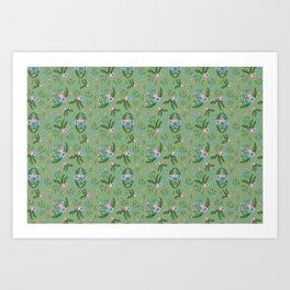 Vintage Florals - Green Art Print