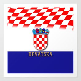Croatian Flag Pattern EURO 2016 Art Print