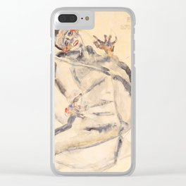 """Egon Schiele """"I Will Gladly Endure for Art and My Loved Ones"""" Clear iPhone Case"""